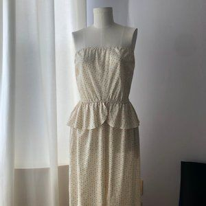 Vintage Bill Blass Polka Dot Strapless Maxi Dress